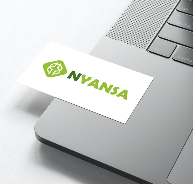 Business card on a laptop